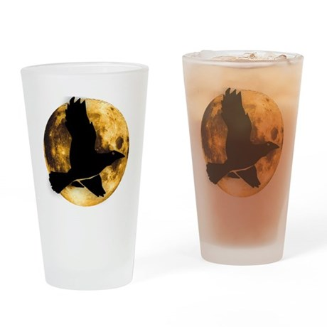Full Moon with Raven Drinking Glass