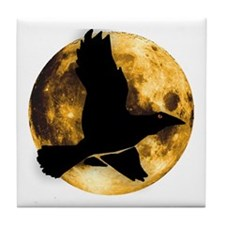 Full Moon with Raven Tile Coaster