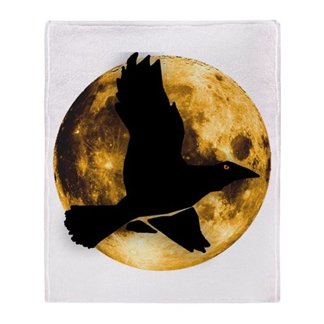 Full Moon with Raven Throw Blanket