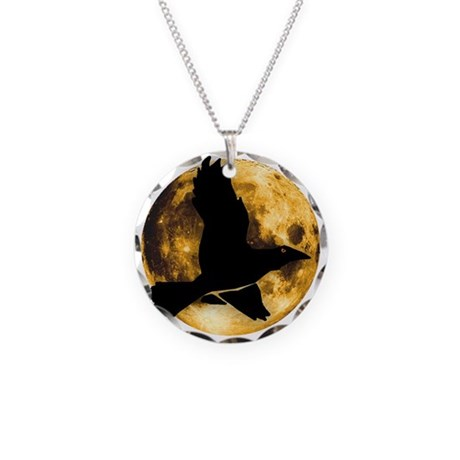 Full Moon with Raven Necklace Circle Charm