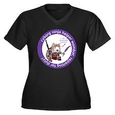 Funny Cyborg Women's Plus Size V-Neck Dark T-Shirt