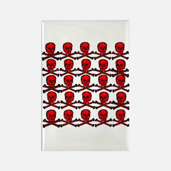 Red Skulls and Crossbones Rectangle Magnet