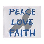 Peace Love Faith Throw Blanket