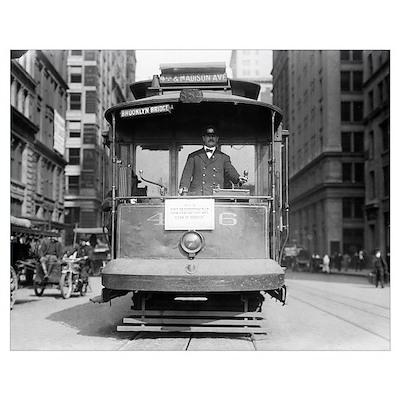 Brooklyn Bridge Trolley, 1915 Poster