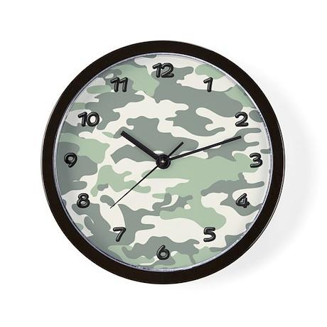 Green camo wall clock by camo nation for Green wall clocks uk