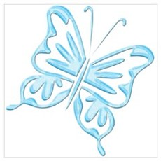 Blue Metallic Retro Butterfly Poster