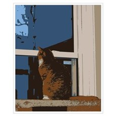 Kitty looks Outside Print Poster