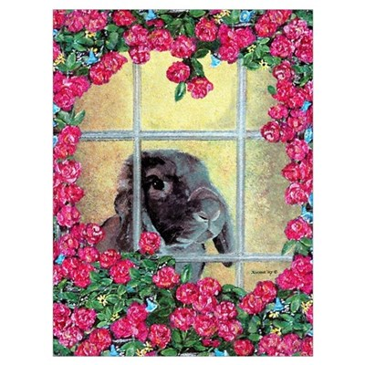Lop Bunny & Flowers Poster