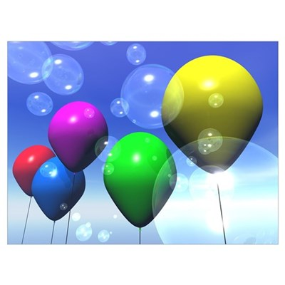 Party Balloons & Bubbles Poster