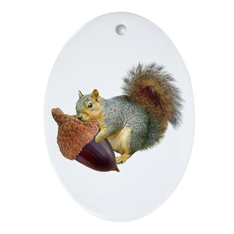 Squirrel with Acorn Ornament (Oval)