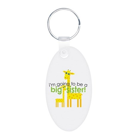 Big Sister To Be Giraffes Aluminum Oval Keychain