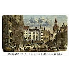 Munich Old Engraving Poster