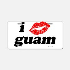 I Love Kiss Guam Heart Aluminum License Plate