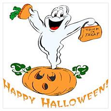 Happy Halloween Pumpkin Ghost Poster