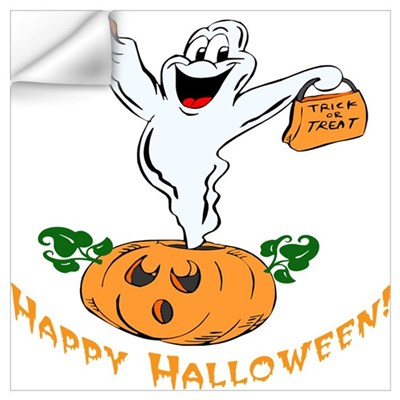 Happy Halloween Pumpkin Ghost Wall Decal