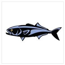 Graphic Blue Fish Poster