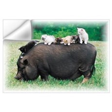 Pig & Kittens Wall Decal