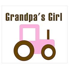 Grandpa's Girl - Pink/Brown T Poster