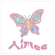 Pink Butterfly Aimee Poster