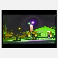 Gas pumps at night Print