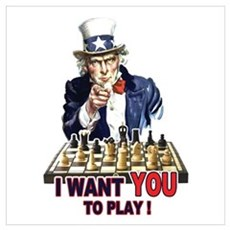 Uncle Sam Plays Chess Poster