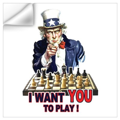 Uncle Sam Plays Chess Wall Decal