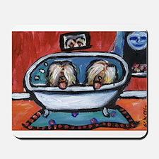 BRIARDS in bath Mousepad