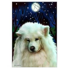 Samoyed Dog Full Moon Poster