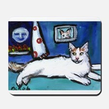 TURKISH VAN cat senses smilin Mousepad