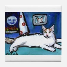 TURKISH VAN cat senses smilin Tile Coaster