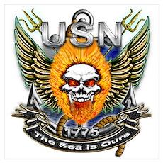 US Navy Flaming Skull The Sea Poster