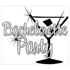Black & White Martini Bachelo Poster