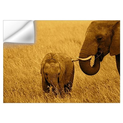 African Elephant baby & Mom Wall Decal