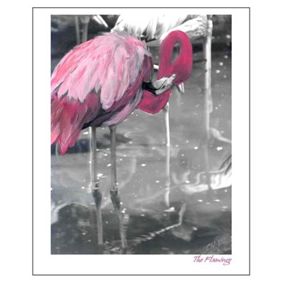 Hand Painted Pink Flamingo Poster