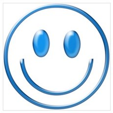 Blue Chrome Smiley Canvas Art