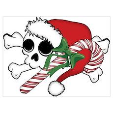 Cute Santa Skull Poster