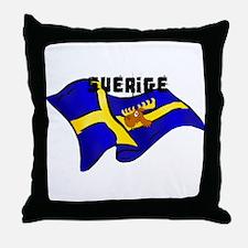 Swedish Moose Flag Throw Pillow