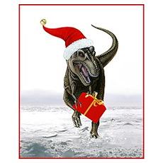 'Santasaurus' T-Rex (Red Border) Poster
