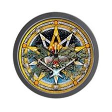 Yule Pentacle Wall Clock