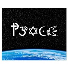 Peace-OM on earth at nite Canvas Art