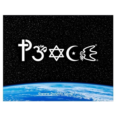 Peace-OM on earth at nite Poster
