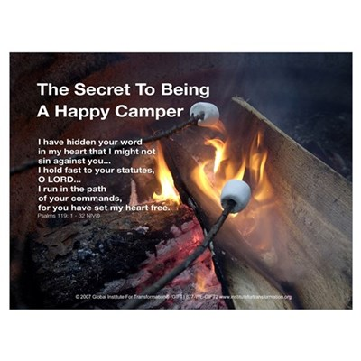 The Secret To Being A Happy Camper - Framed Framed Print