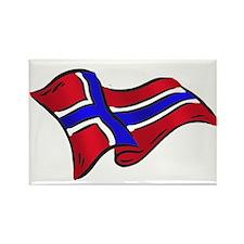 Norwegian flag of Norway Rectangle Magnet