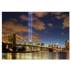 WTC Lights Brooklyn Bridge Poster