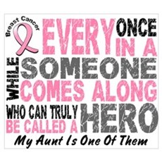 HERO Comes Along 1 Aunt BREAST CANCER Canvas Art