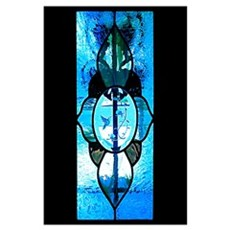 11x17 Stained Glass Door Blue Poster