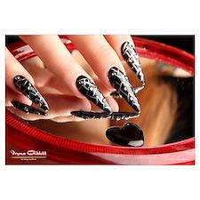 Nail Art - Black/Silver Stilettos