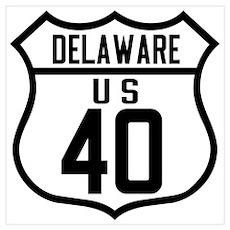 Route 40 Shield - Delaware Poster