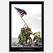 Raising the Flag on Iwo Jima - Partial Colorized