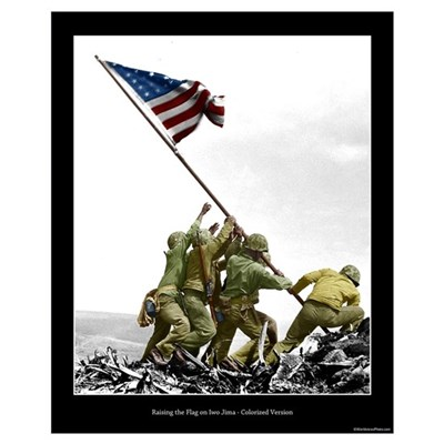 Raising the Flag on Iwo Jima - Partial Colorized Poster